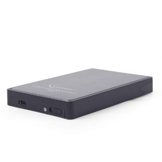 Slika Gembird USB 3.1 2.5'' enclosure, Type-C, black, metal cladded