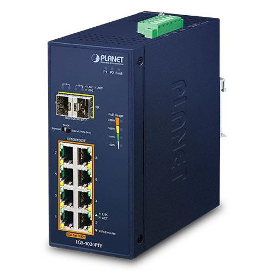 Slika Planet Industrial 8-Port GbE 802.3at PoE+ (240W) + 2-Port 100/1000X SFP Switch (-40~75 degrees C)