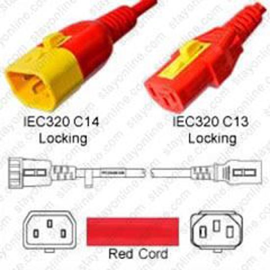 Slika StayOnline V-Lock C14 Male to C13 Female 1,2m, Red