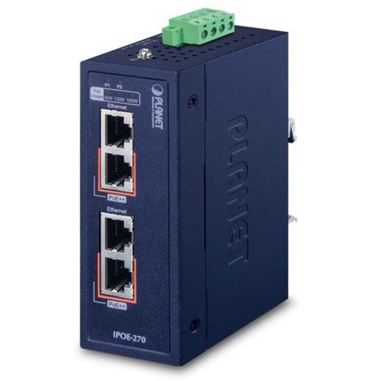 Slika Planet Industrial 2-port Multi-Gigabit 802.3bt PoE++ Injector Hub w/12V Booster (-40~75 degrees C, 12~56VDC)