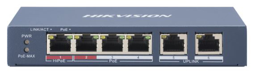 Slika HikVision 4-Port 100Mbps RJ45 PoE (60W) + 2x 100Mbps RJ45 Unmanaged Switch