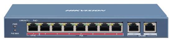 Slika HikVision 8-Port 100Mbps RJ45 PoE (110W) + 2x GbE RJ45 Unmanaged Switch