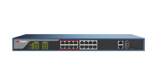 Slika HikVision 16-Port 100Mbps RJ45 PoE (230W) + 2 Combo 1G RJ45/SFP Web Managed Switch